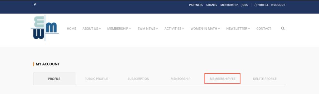 Member area - membership fee