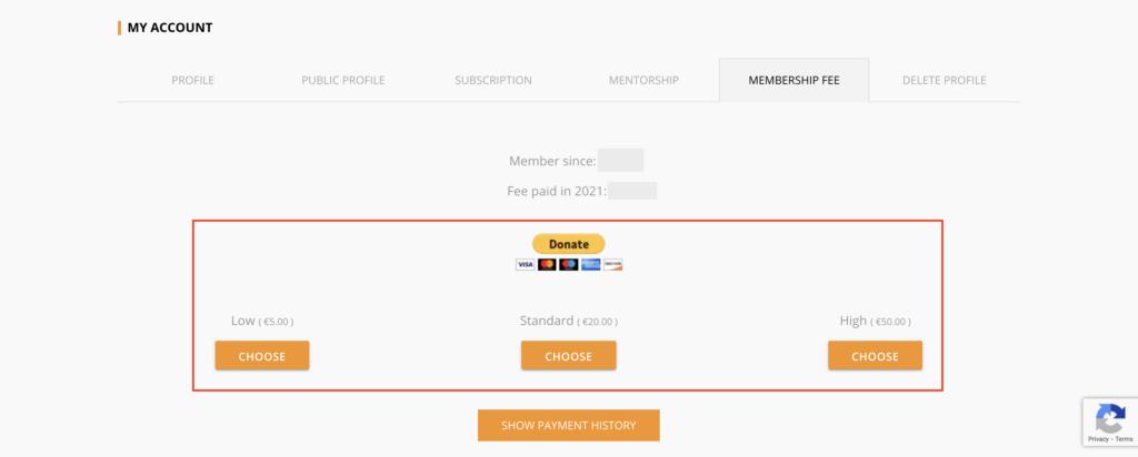 Member area - payment method